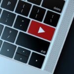 Youtube icon on laptop keyboard. Technology concept 18597